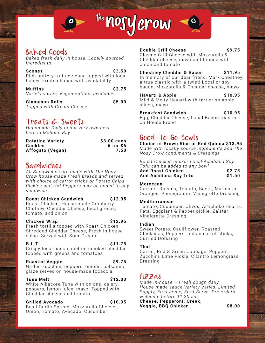 The Nosy Crow Bites & Brews | cafe | 3 Edgewater St, Mahone Bay, NS B0J 2E0, Canada | 9026240303 OR +1 902-624-0303