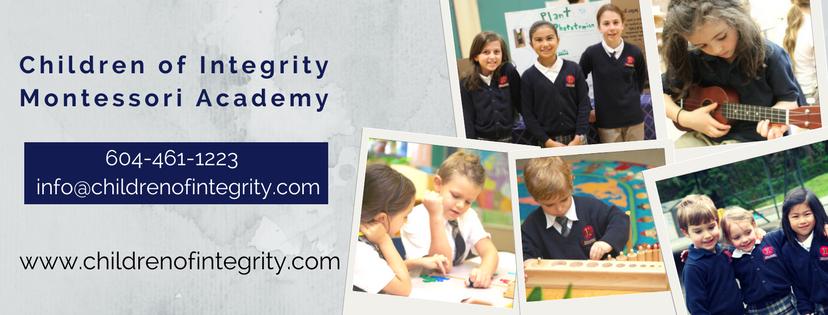 Children of Integrity Montessori Academy | school | 2541 Quay Pl, Coquitlam, BC V3H 3S7, Canada | 6044611223 OR +1 604-461-1223