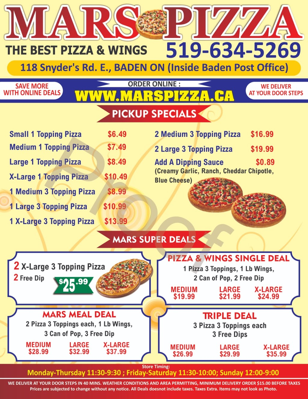 Mars Pizza   restaurant   118 Snyders Rd E, Baden, ON N3A 2V6, Canada   5196345269 OR +1 519-634-5269
