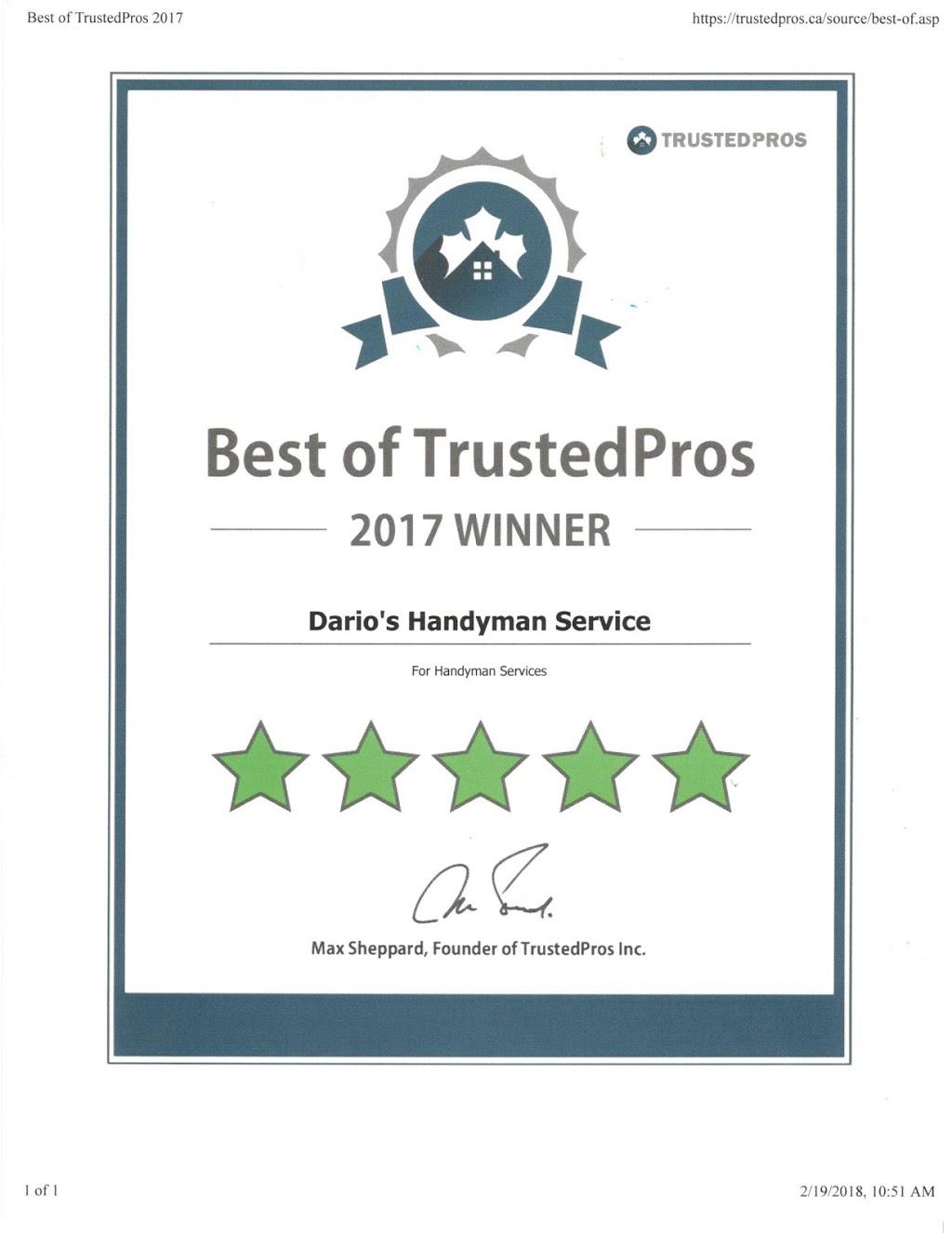 Darios Windsor Handyman Service | plumber | 3471 Bruce Ave, Windsor, ON N9E 4S1, Canada | 5198900421 OR +1 519-890-0421