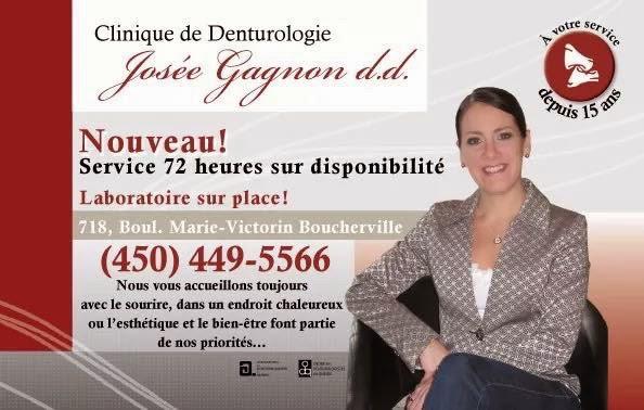 Clinique De Denturologie Josée Gagnon | dentist | 718 Boulevard Marie-Victorin, Boucherville, QC J4B 1Y2, Canada | 4504495566 OR +1 450-449-5566
