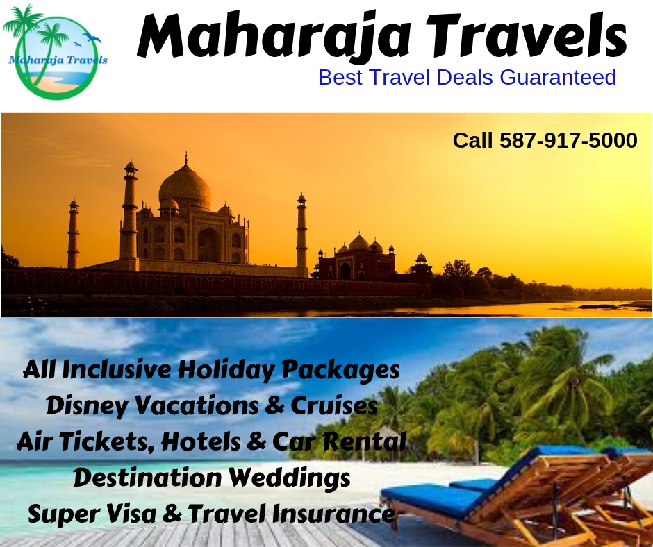 MAHARAJA TRAVELS CANADA | travel agency | 22 Redstone Manor NE, Calgary, AB T3N 0J5, Canada | 4039035000 OR +1 403-903-5000