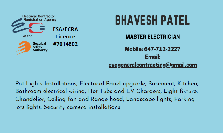 EVA GENERAL CONTRACTING | electrician | Gecko Ct, Brampton, ON L6R 2P1, Canada | 6477122227 OR +1 647-712-2227