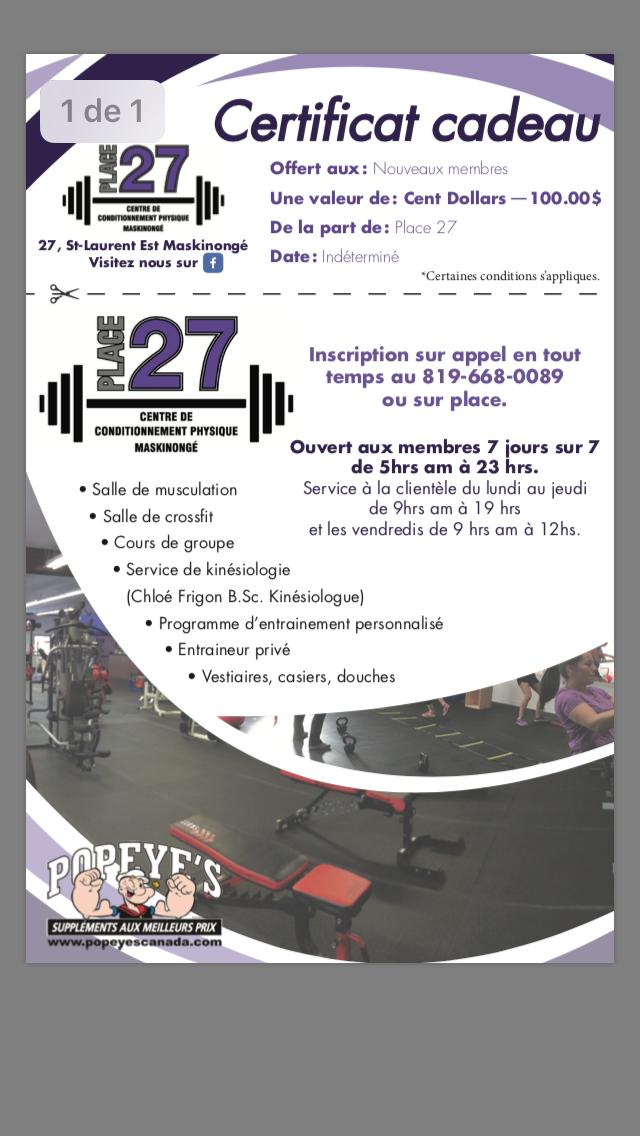 CENTRE DE CONDITIONNEMENT PHYSIQUE PLACE 27 | point of interest | 27 Rue St Laurent E, Maskinongé, QC J0K 1N0, Canada | 8196680089 OR +1 819-668-0089