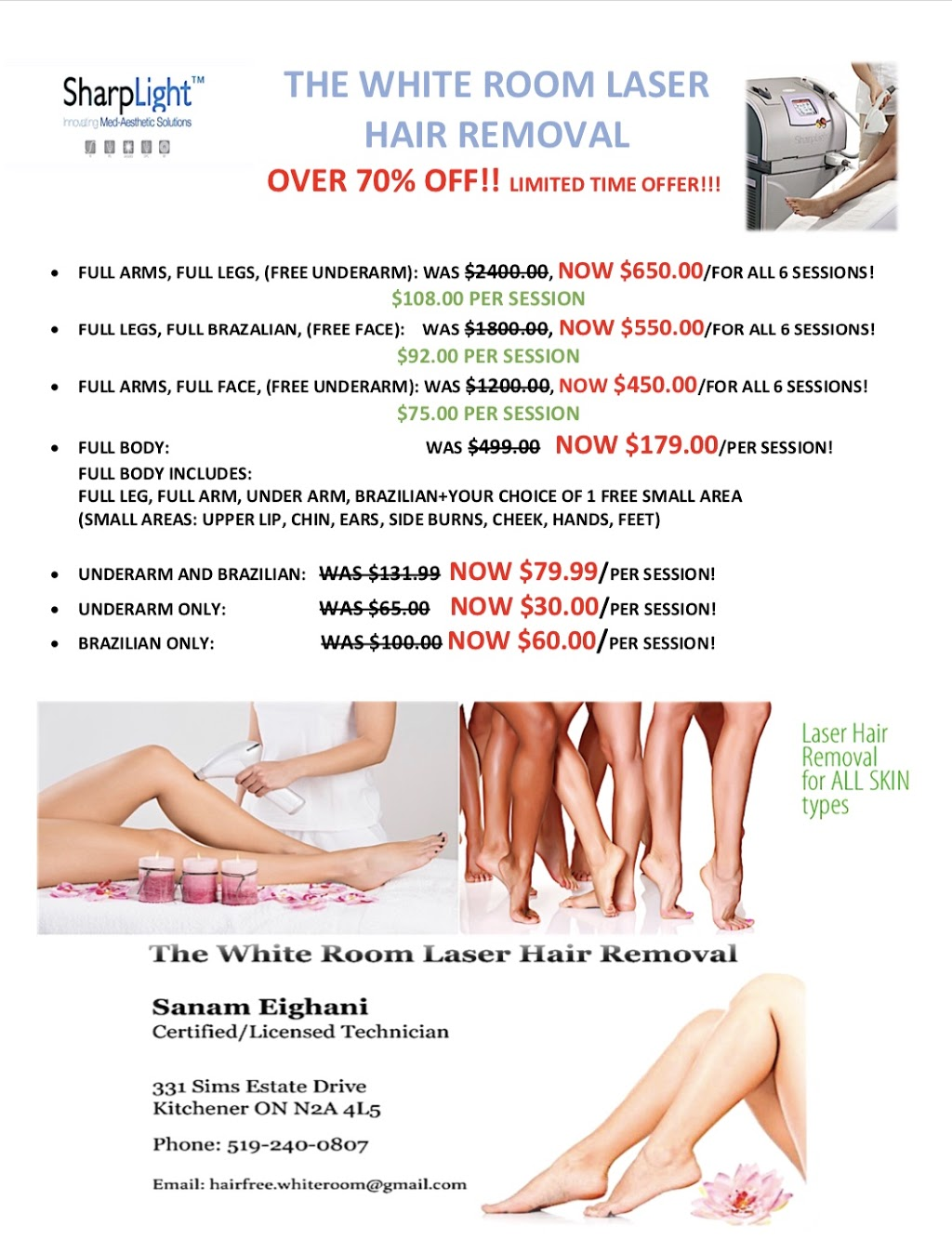 The White Room Laser Hair Removal | hair care | 331 Sims Estate Dr, Kitchener, ON N2A 4L5, Canada | 5192400807 OR +1 519-240-0807