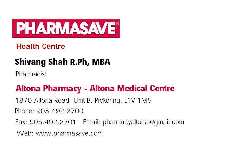 Pharmasave Altona Pharmacy & Medical Centre   health   1870 Altona Rd Unit B, Pickering, ON L1V 1M5, Canada   9054922700 OR +1 905-492-2700