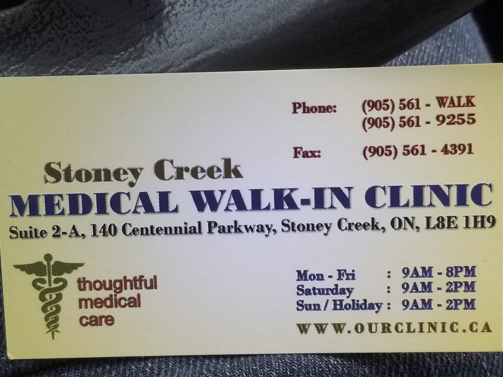 Stoney Creek Medical Walk-In Clinic | health | 140 Centennial Pkwy N, Hamilton, ON L8E 1H9, Canada | 9055619255 OR +1 905-561-9255