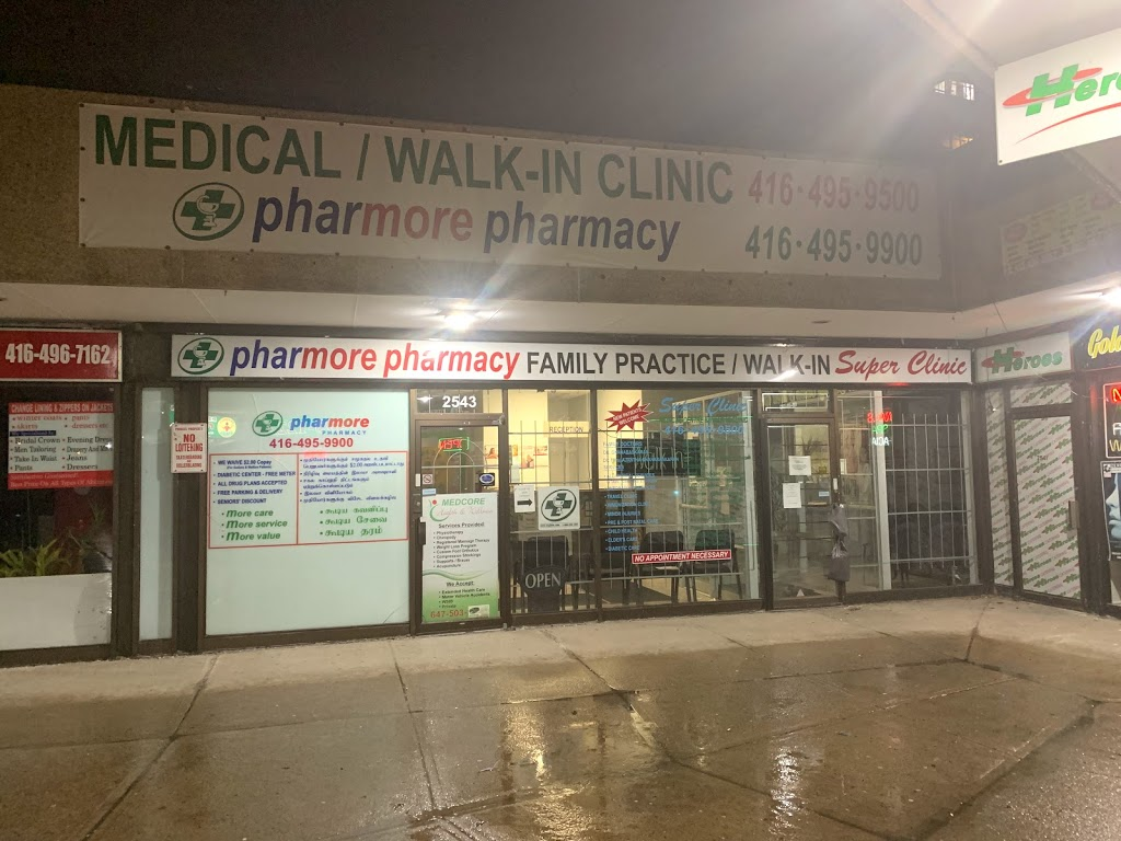 Pharmore pharmacy/ walk in clinic | health | 2543 Pharmacy Ave, Scarborough, ON M1W 1H9, Canada | 4164959900 OR +1 416-495-9900