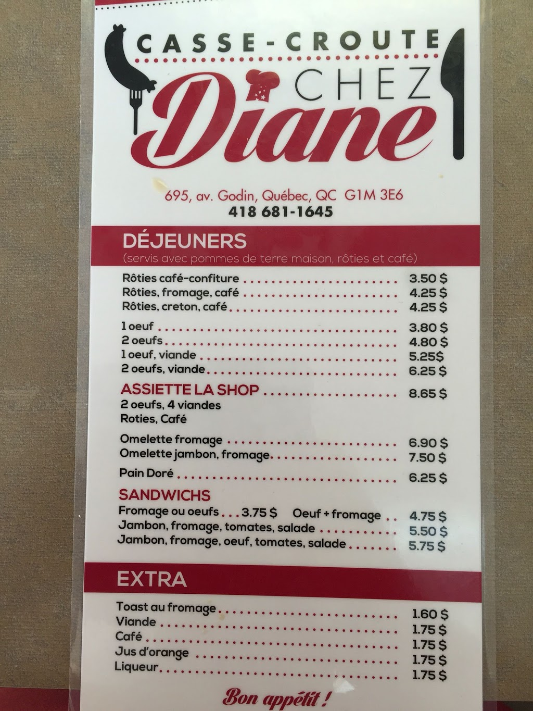 Casse-croûte Chez Diane | meal takeaway | 695 Avenue Godin, Québec, QC G1M 3E6, Canada | 4186811645 OR +1 418-681-1645