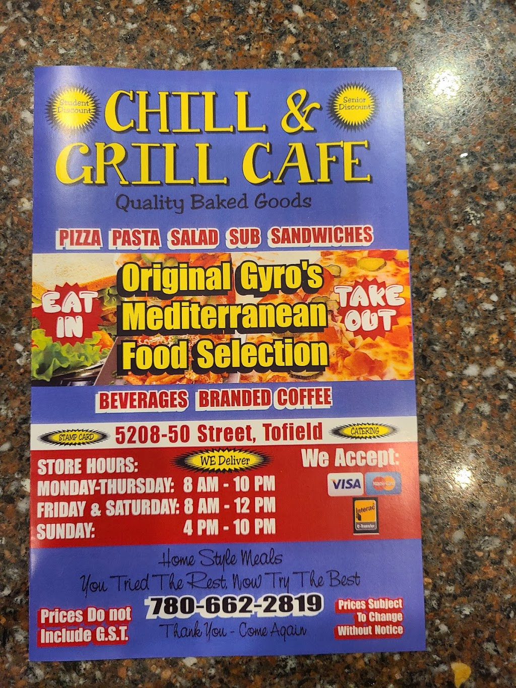 Chill and Grill Cafe | restaurant | 5208 50th St, Tofield, AB T0B 4J0, Canada | 7806622819 OR +1 780-662-2819