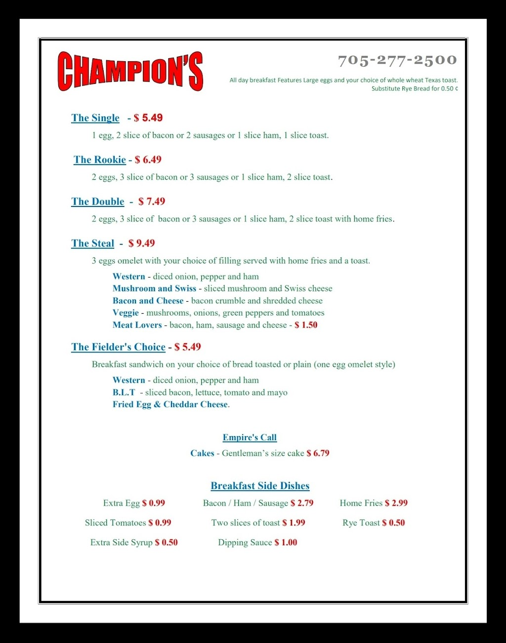 Champions dinner & pizzeria | restaurant | 1451 ON-7A, Bethany, ON L0A 1A0, Canada | 7052772500 OR +1 705-277-2500