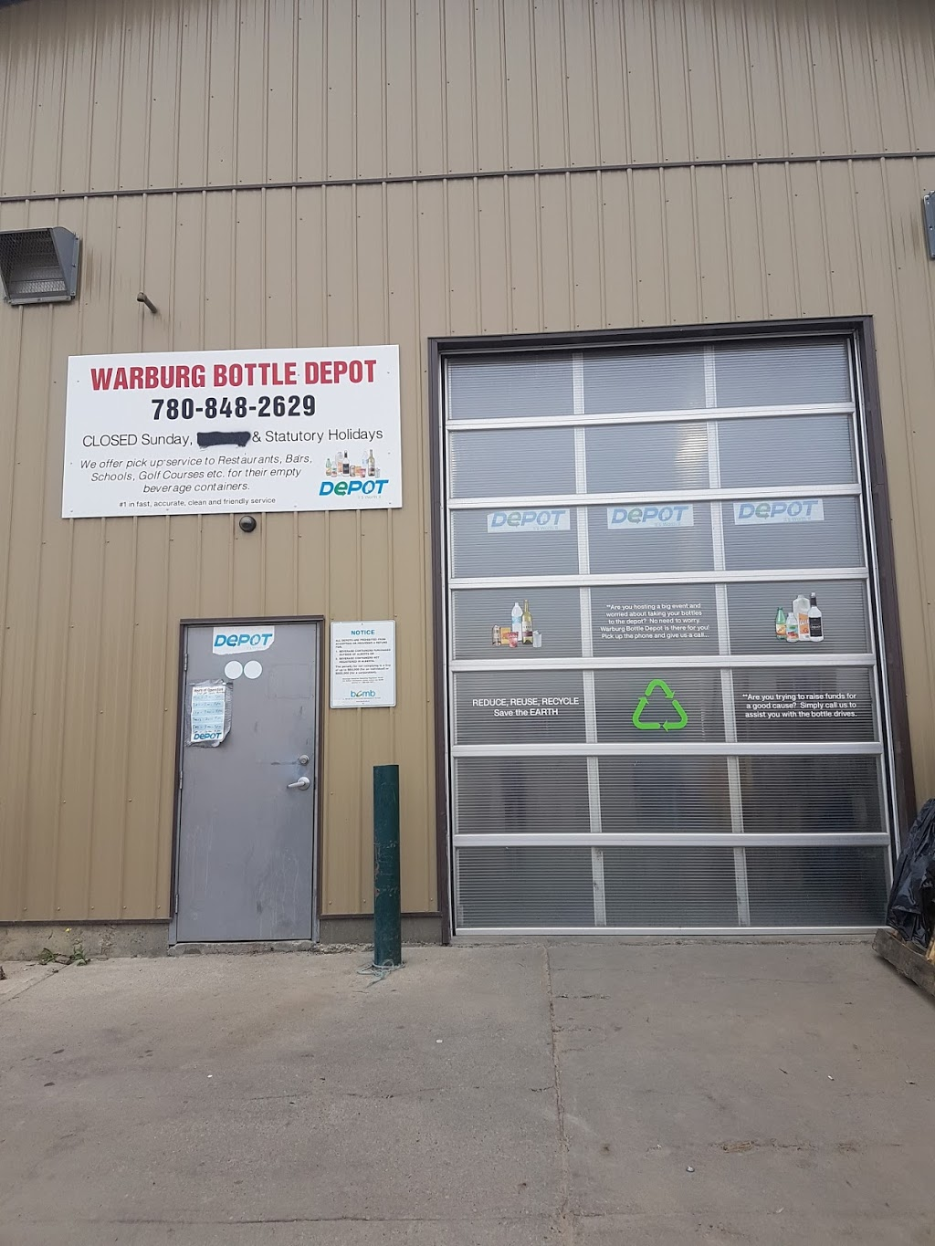 Warburg Bottle Depot | point of interest | 5733 50 St, Warburg, AB T0C 2T0, Canada | 7808482629 OR +1 780-848-2629