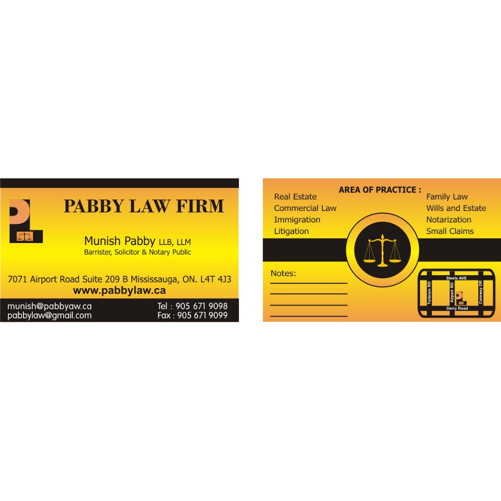 Pabby Law Firm | point of interest | 7071 Airport Rd Unit 209B, Mississauga, ON L4T 4J3, Canada | 9056719098 OR +1 905-671-9098