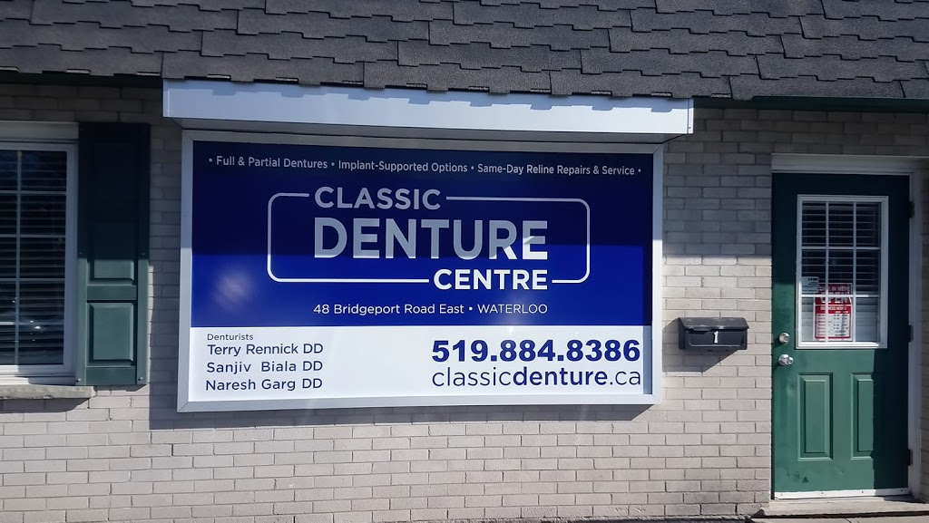 CLASSIC DENTURE CENTRE (TERRY RENNICK DENTURE CLINIC) | health | 48 Bridgeport Rd E, Waterloo, ON N2J 2J6, Canada | 5198848386 OR +1 519-884-8386