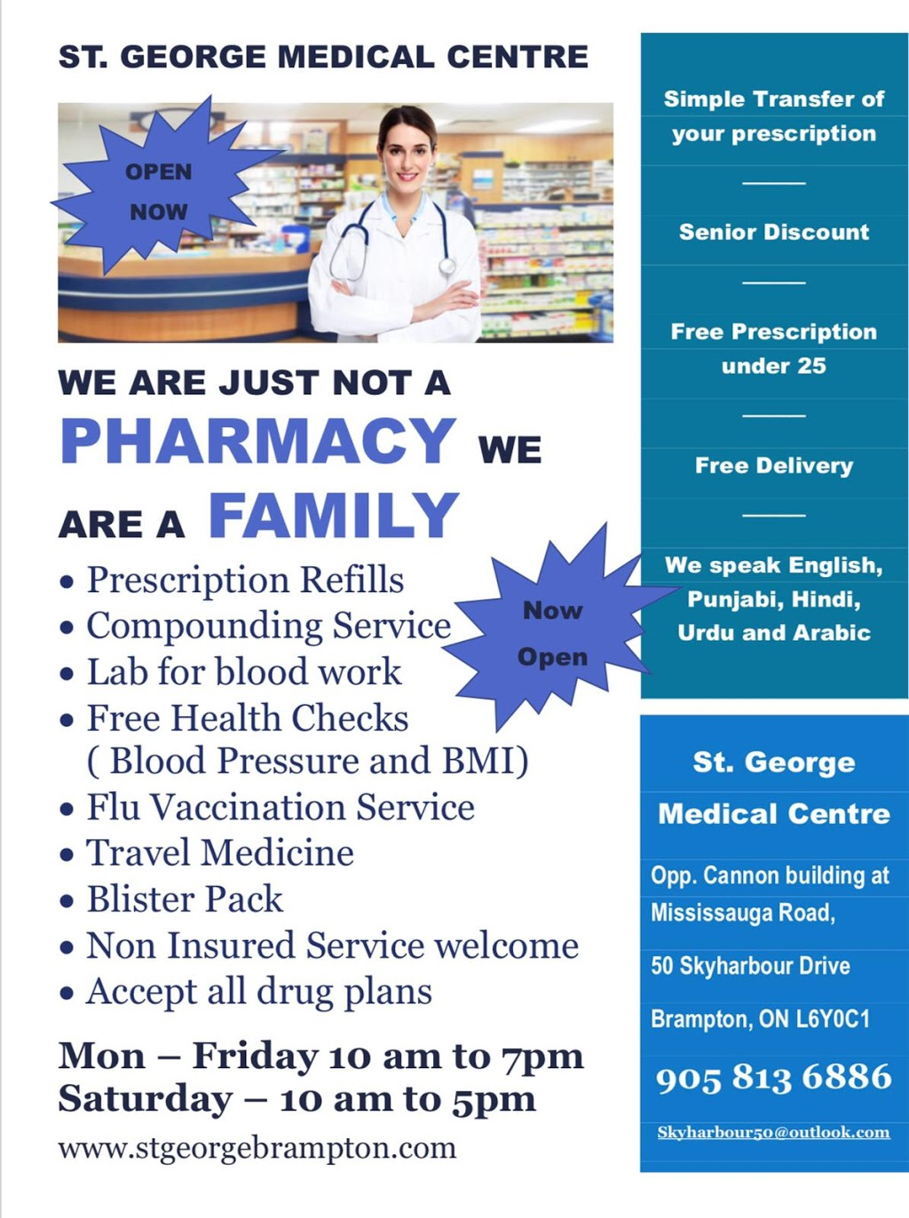 St George Medical Center and Pharmacy   doctor   50 Sky Harbour Dr, Brampton, ON L6Y 0C1, Canada   9058136886 OR +1 905-813-6886