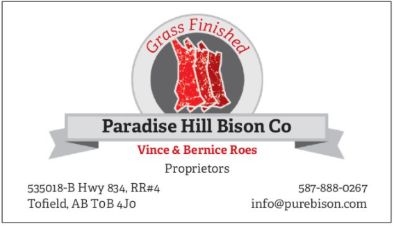 Paradise Hill Bison Co | point of interest | 535018, AB-834, Chipman, AB T0B 4J0, Canada | 5878880267 OR +1 587-888-0267