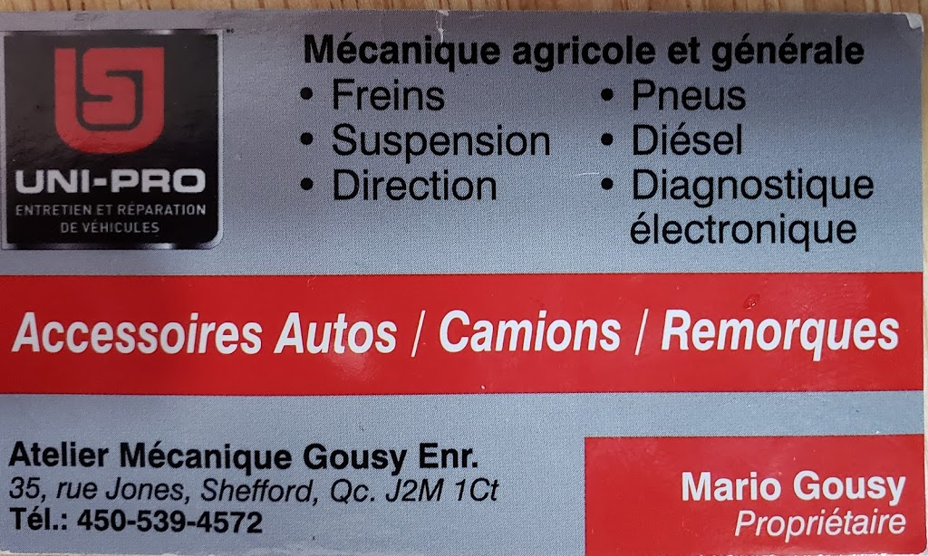Atelier Mecanique Gousy | car repair | 35 Rue Jones, Shefford, QC J2M 1C8, Canada | 4505394572 OR +1 450-539-4572