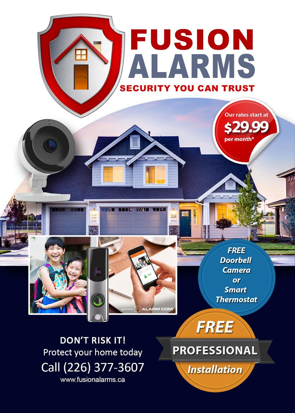 Fusion alarms | point of interest | Sophia Cres, London, ON N6G 5P2, Canada | 5193773607 OR +1 519-377-3607