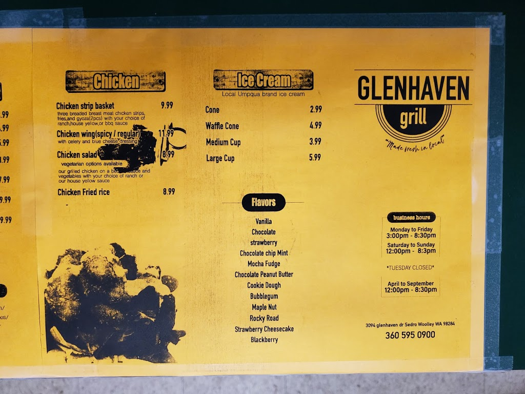 Glenhaven Grill | restaurant | 370432271442, Sedro-Woolley, WA 98284, USA | 3605950900 OR +1 360-595-0900