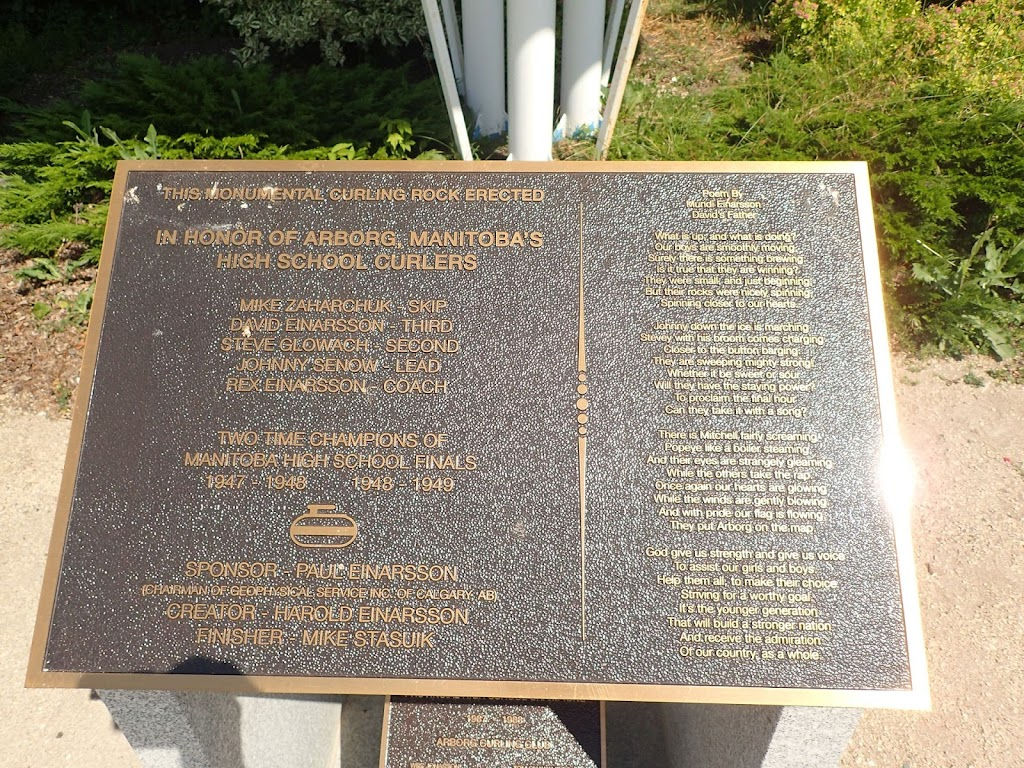 Worlds Largest Curling Rock | point of interest | 417 Recreation Centre, Arborg, MB R0C 0A0, Canada | 2043762647 OR +1 204-376-2647