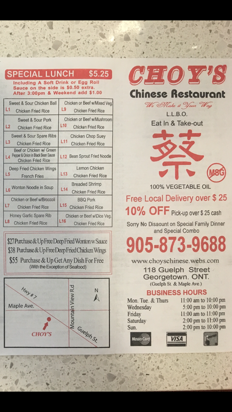 Choys Chinese Restaurant | restaurant | 118 Guelph St, Halton Hills, ON L7G 4A3, Canada | 9058739688 OR +1 905-873-9688