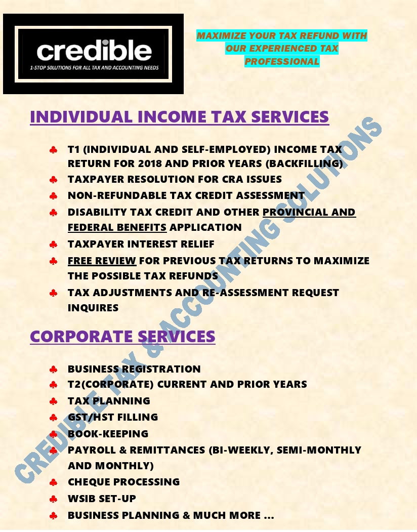 Credible Tax and Accounting Solutions | point of interest | 1748 Victoria Park Ave. UNIT: A, Scarborough, ON M1R 1R4, Canada | 6475471989 OR +1 647-547-1989