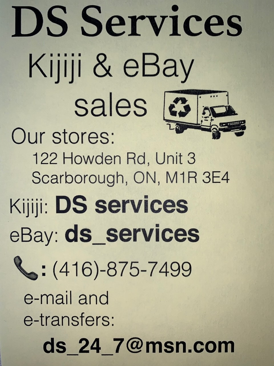 DS Services   furniture store   Loading Dock, 122 Howden Rd Unit 3, Scarborough, ON M1R 3E4, Canada   4168757499 OR +1 416-875-7499
