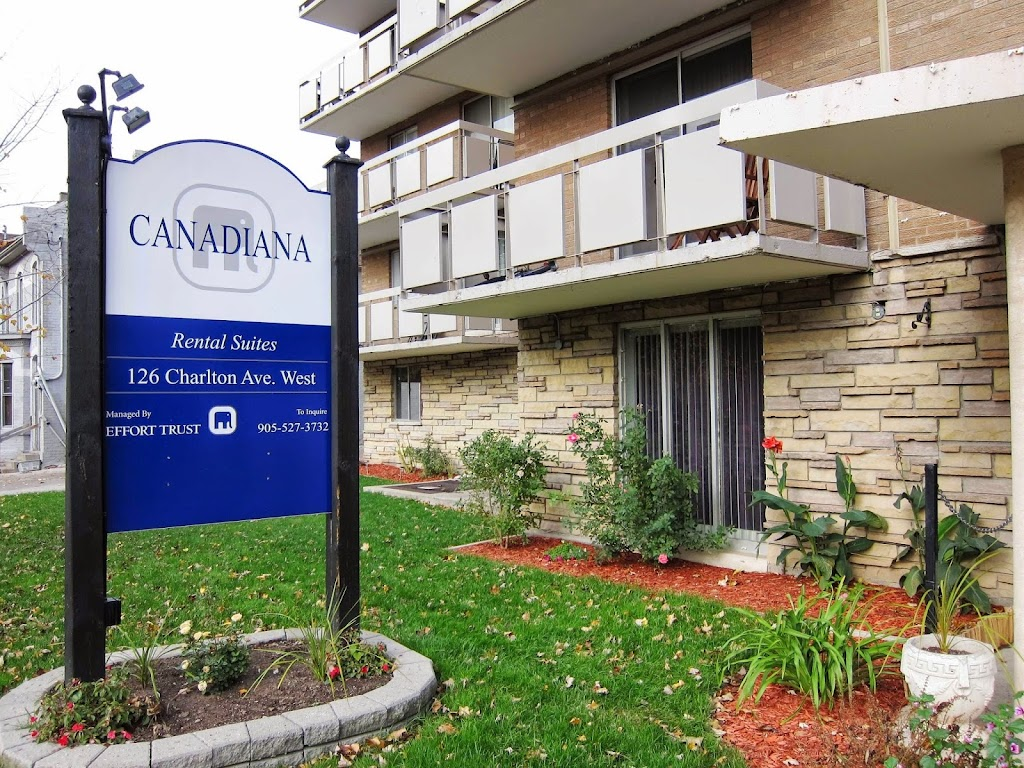 Canadiana Apartments | point of interest | 126 Charlton Ave W, Hamilton, ON L8P 2C6, Canada | 9055273732 OR +1 905-527-3732