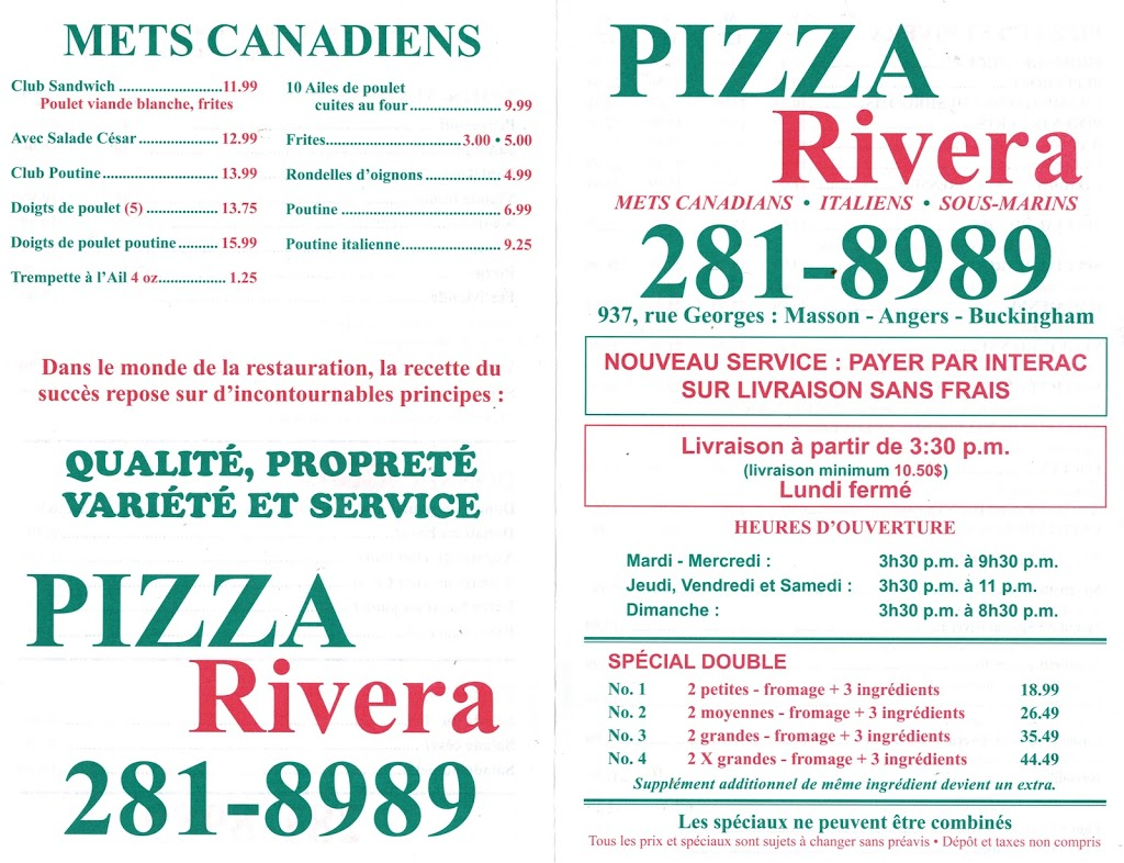 Rivera Pizza Buckingham   restaurant   937 Rue Georges, Gatineau, QC J8L 2E4, Canada   8192818989 OR +1 819-281-8989