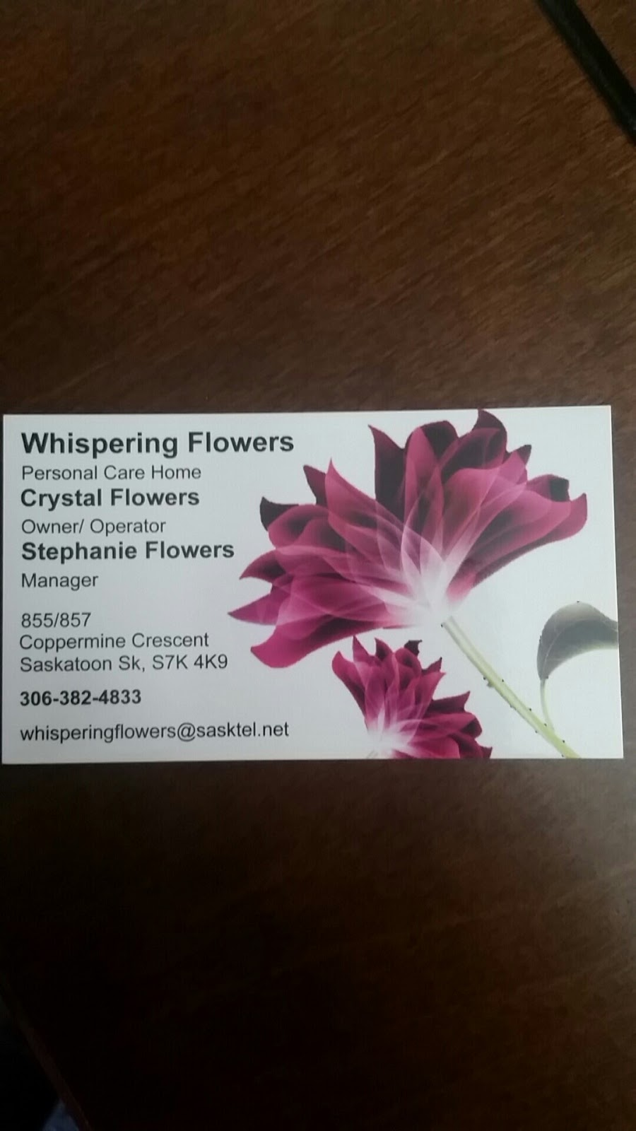 Whispering Flowers Care Home | health | 857 Coppermine Crescent, Saskatoon, SK S7K 4K9, Canada | 3063824833 OR +1 306-382-4833