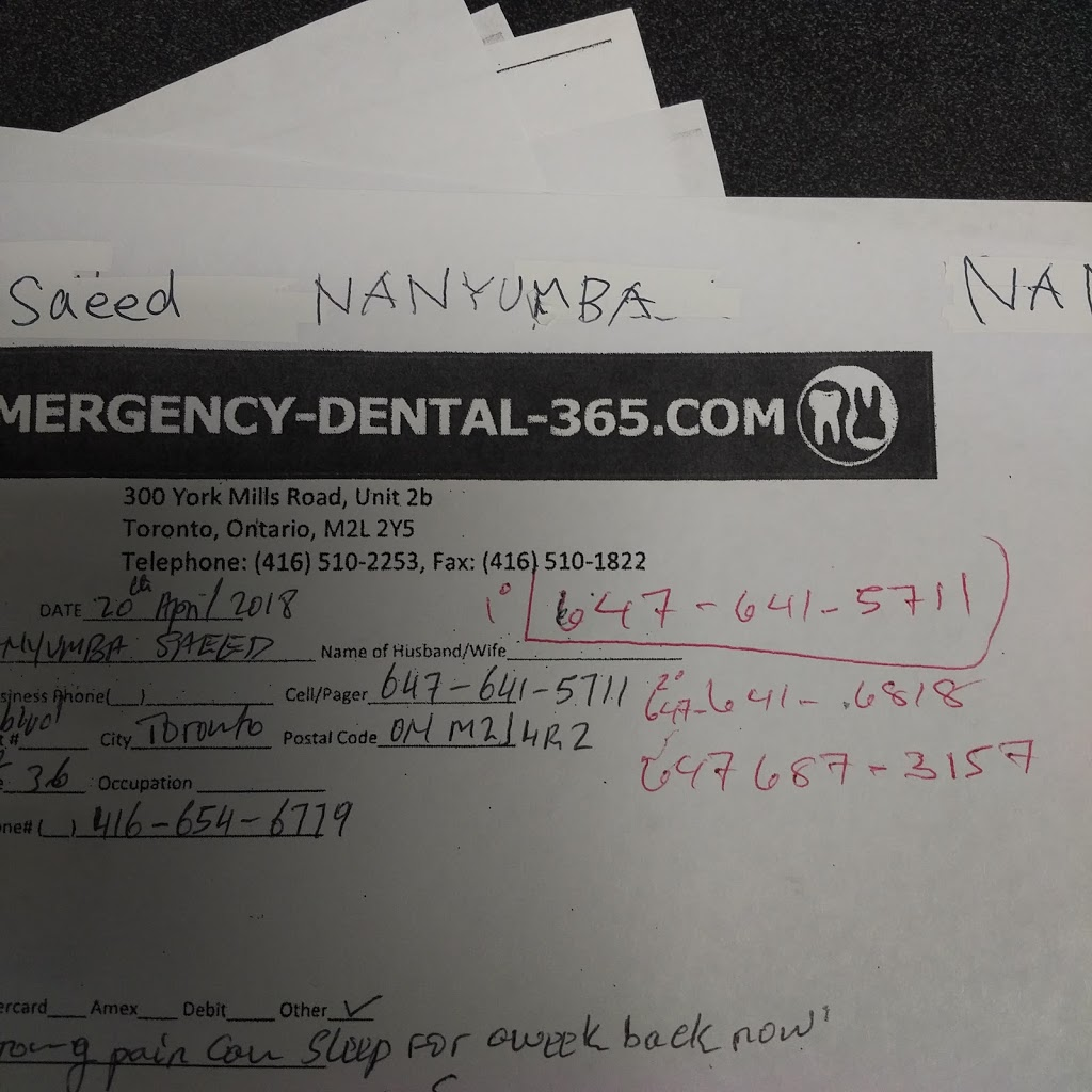 Emergency-Dental-365.com | dentist | 300 York Mills Rd #2b, North York, ON M2L 2Y5, Canada | 4165102253 OR +1 416-510-2253