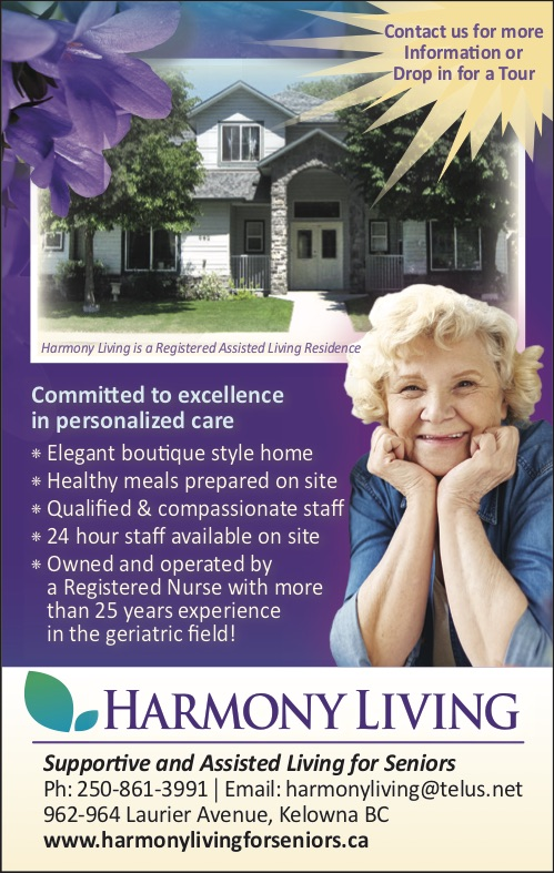 Harmony Living For Seniors | health | 962 Laurier Ave, Kelowna, BC V1Y 6B1, Canada | 2508613991 OR +1 250-861-3991