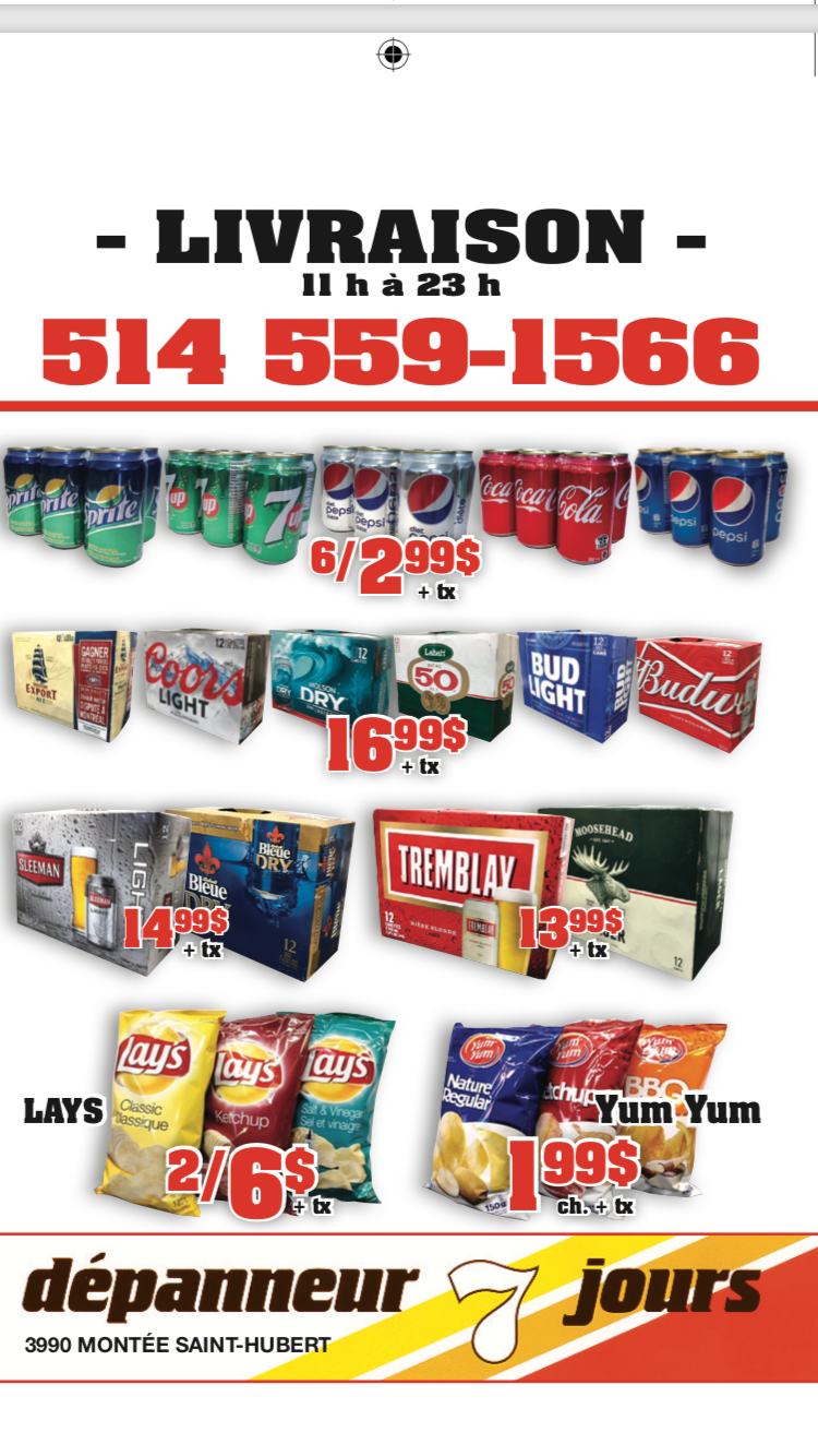 Dépanneur livraison   store   3990 Montée Saint-Hubert, Saint-Hubert, QC J3Y 4K3, Canada   5145591566 OR +1 514-559-1566