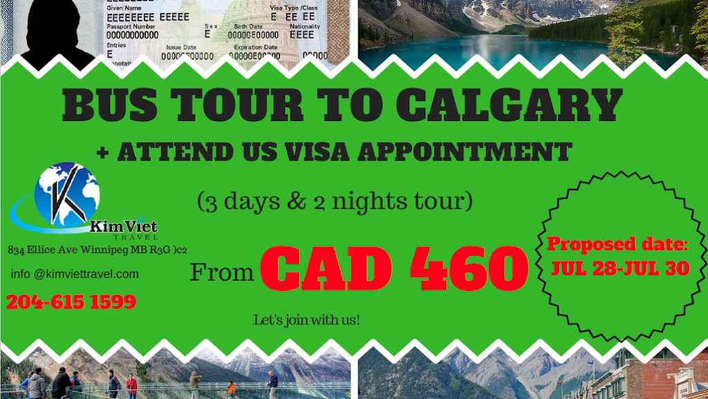KimViet Travel | travel agency | 834 Ellice Ave #200, Winnipeg, MB R3G 0C2, Canada | 2046151599 OR +1 204-615-1599