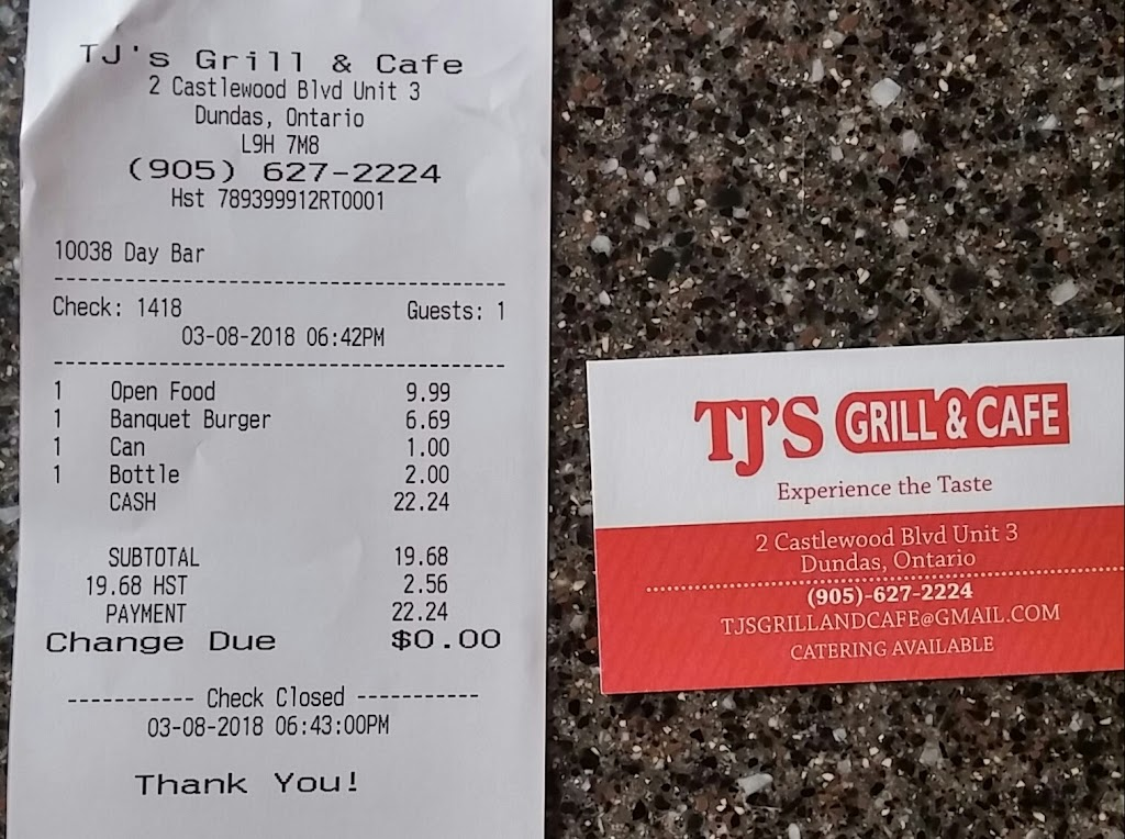 Tjs grill and cafe | restaurant | 2 Castlewood Blvd unit 3, Dundas, ON L9H 7M8, Canada | 9056272224 OR +1 905-627-2224