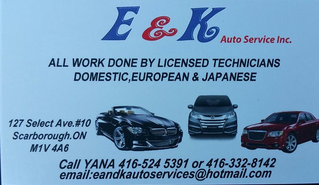 E&K Auto Services Inc.   car repair   127 Select Ave unit #10, Scarborough, ON M1V 4A6, Canada   4163328142 OR +1 416-332-8142