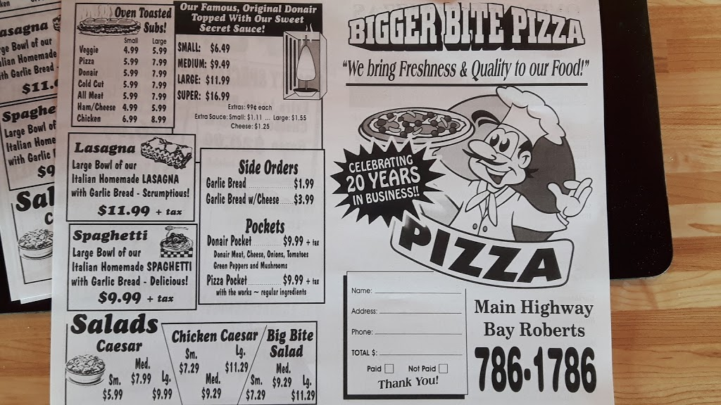 Bigger Bite Pizza   restaurant   59 Conception Bay Hwy, Bay Roberts, NL A0A 1G0, Canada   7097861786 OR +1 709-786-1786