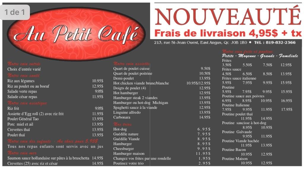 Au Petit Café   restaurant   213 Rue Saint-Jean O, East Angus, QC J0B 1R0, Canada   8198322366 OR +1 819-832-2366