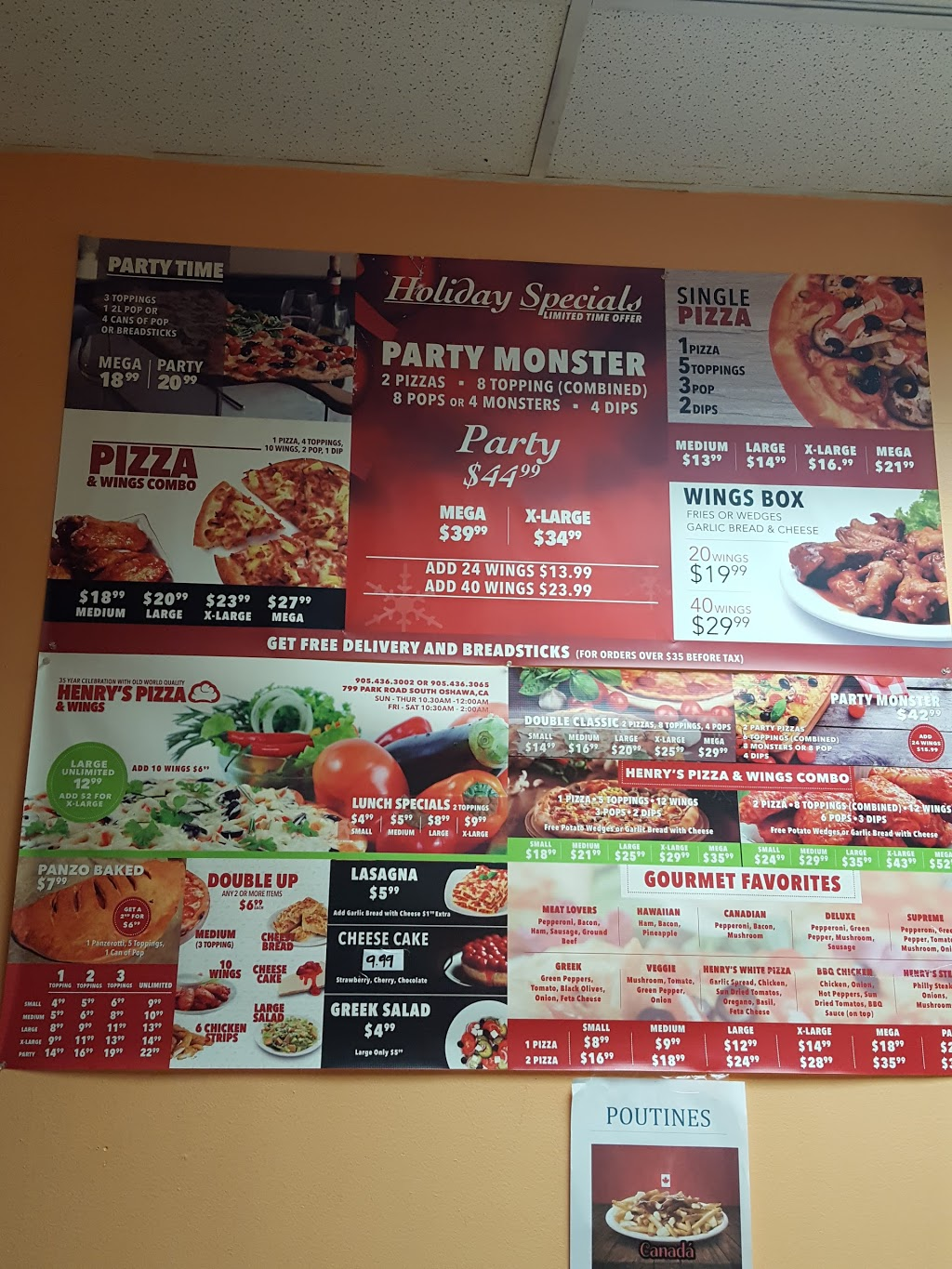 Henrys Pizza & Wings   meal delivery   799 Park Rd S, Oshawa, ON L1J 4K1, Canada   9054363002 OR +1 905-436-3002