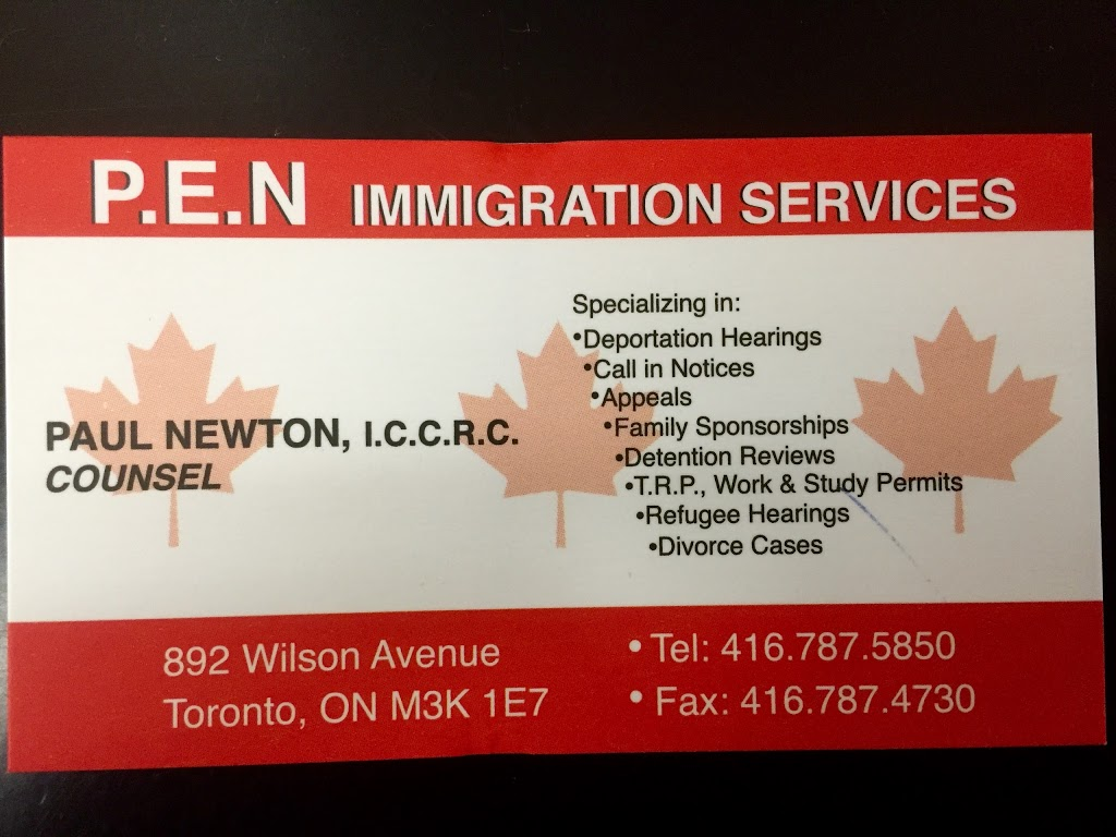 Pen Immigration Consulting Services | travel agency | 892 Wilson Ave, North York, ON M3K 1E7, Canada | 4167875850 OR +1 416-787-5850