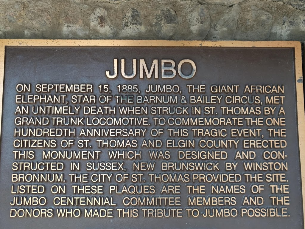 Jumbo the Elephant Memorial | museum | 65 Talbot, St Thomas, ON N5P 1A5, Canada | 51963116804132 OR +1 519-631-1680 ext. 4132